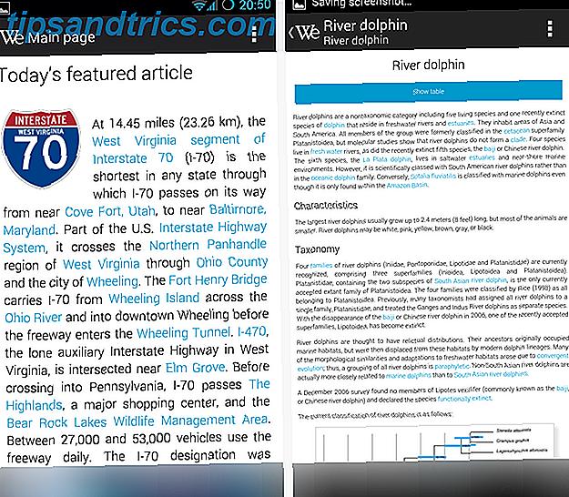 Il sito mobile di Wikipedia sembra quasi un'app.  Ma se quasi non lo fai per te, sarai interessato a WikiExplorer.