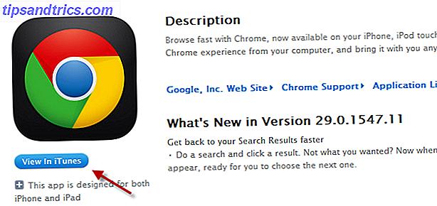 Hur får du Chrome för att automatiskt öppna iTunes-appen, när du klickar på den blå knappen Visa i iTunes på en Apple-sida?