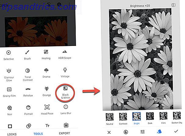 Selektivt farve og sort / hvidt billede for nogle dramatiske effekter.  Lad os se, hvordan Snapseed kan hjælpe dig.
