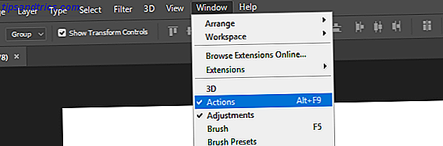 Option de menu Actions Photoshops