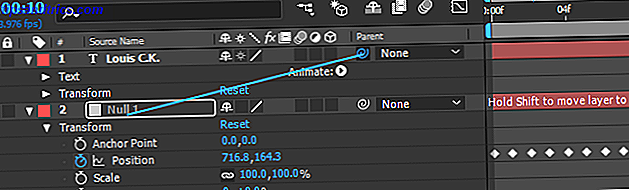 Comment Motion Track texte dans Adobe After Effects null parent