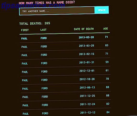 """Denk je diep na over je leven?  Een nieuwe interactieve helpt je om dit in een bepaalde context te onderzoeken met de """"Database van de Dood"""".  Ontdek interessante feiten uit de officiële Amerikaanse overlijdensregistraties."""