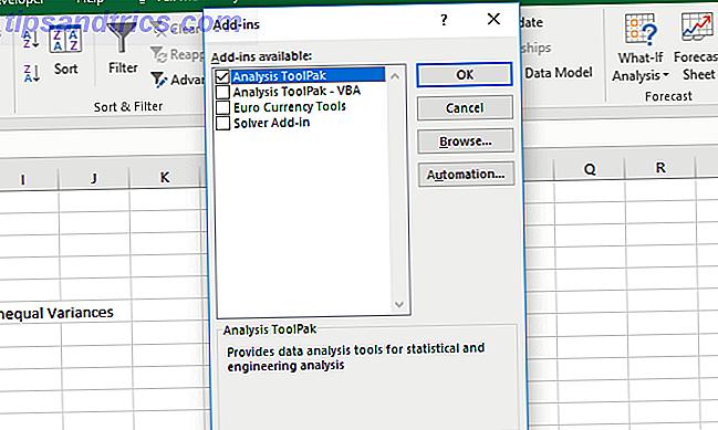 Lägga till Excel Data Analysis Toolpak