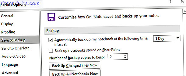 Options de sauvegarde OneNote