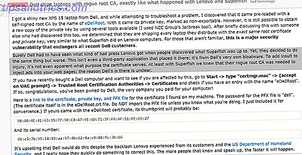 Dell, el tercer fabricante de computadoras más grande del mundo, ha sido capturado enviando certificados de rogue root en todas las computadoras nuevas, tal como lo hizo Lenovo con Superfish.  A continuación, le mostramos cómo hacer que su nueva PC Dell sea segura.