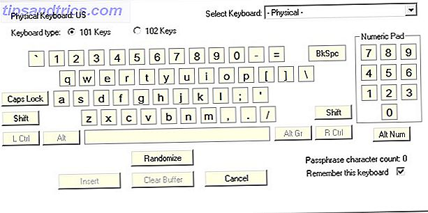 Virtuelle Tastatur für das Programm Password Safe