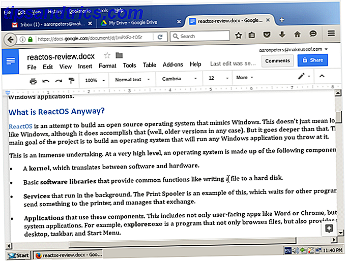reactos review firefox googledoc