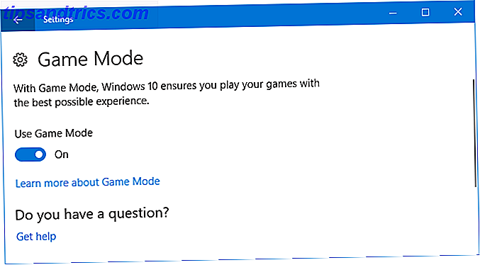 Windows 10 mode de jeu